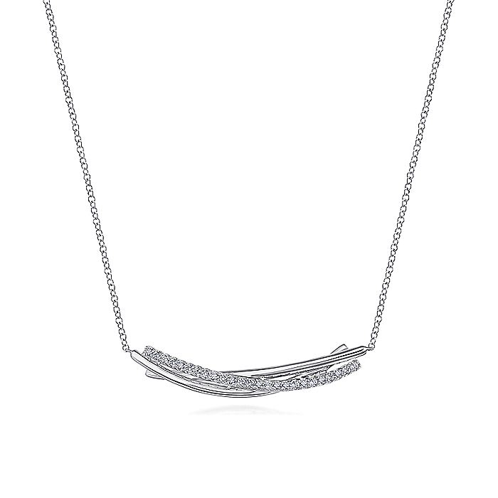 925 Sterling White Sapphire Bar Pendant Necklace