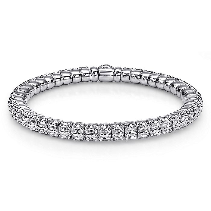 926 Silver and Stainless Steel Textured Stations Bangle