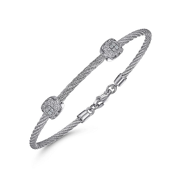 926 Silver and Stainless Steel Twisted Cable Bangle with 2 Square Cluster Diamond Stations