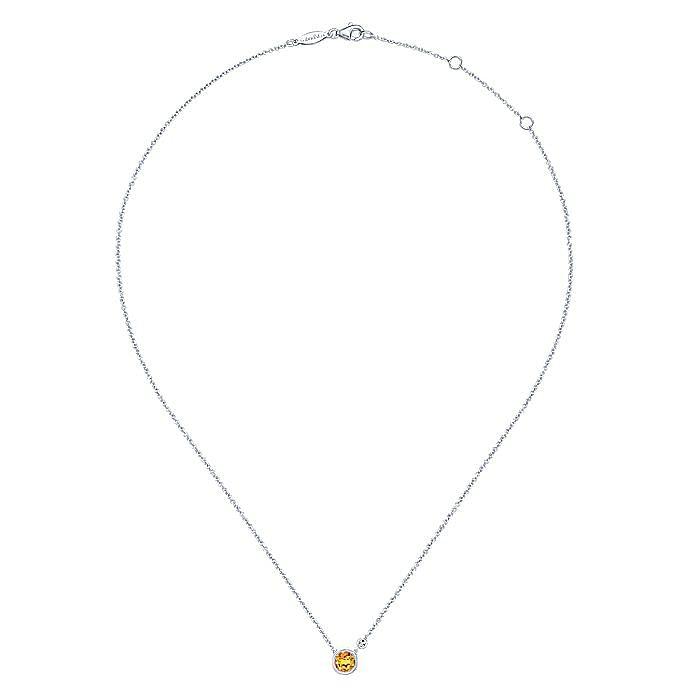 926 Sterling Silver Bezel Set Citrine and Diamond Necklace
