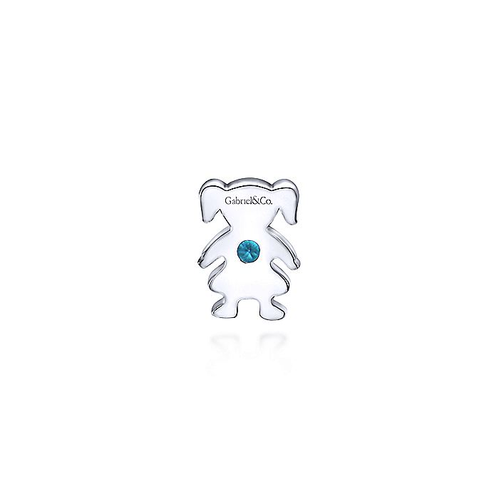 926 Sterling Silver Girl Figurine with Aquamarine Stone Pendant