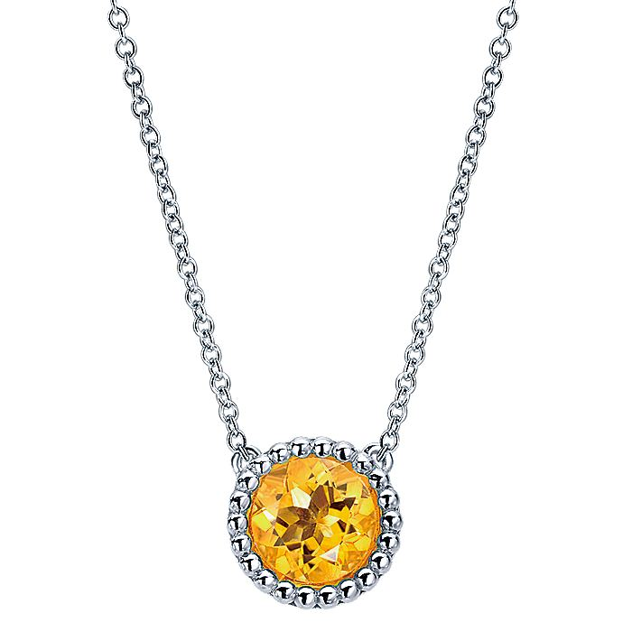 926 Sterling Silver Round Citrine Pendant Necklace