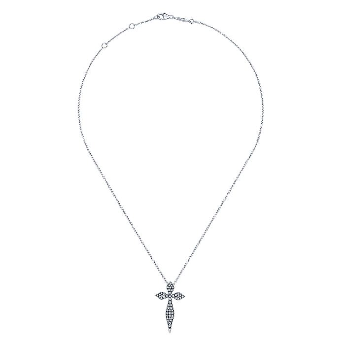 926 Sterling Silver White Sapphire Spike Cross Pendant Necklace