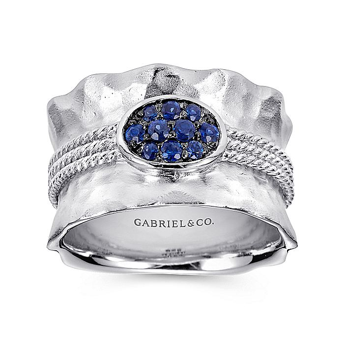927 Sterling Silver Wide Hammered  Ring with Sapphire Stone Cluster