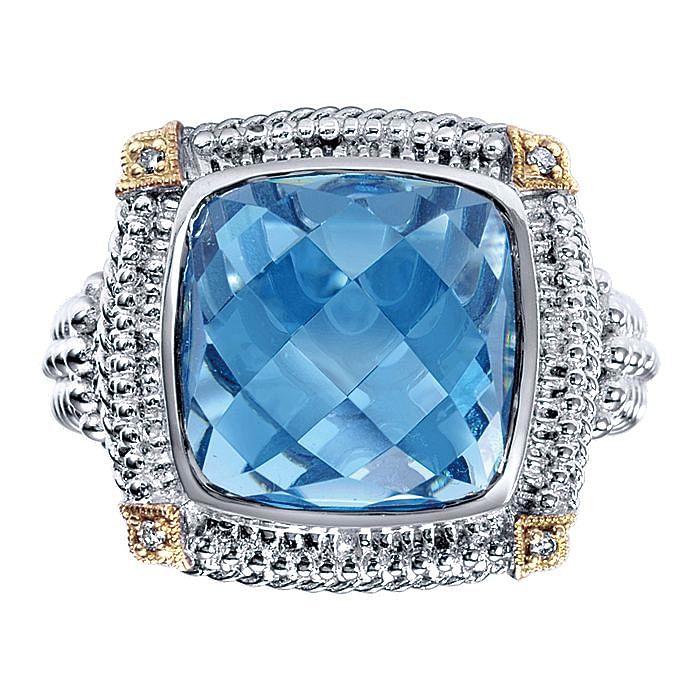 932 Sterling Silver-18K Yellow Gold Cushion Cut Blue Topaz Ring
