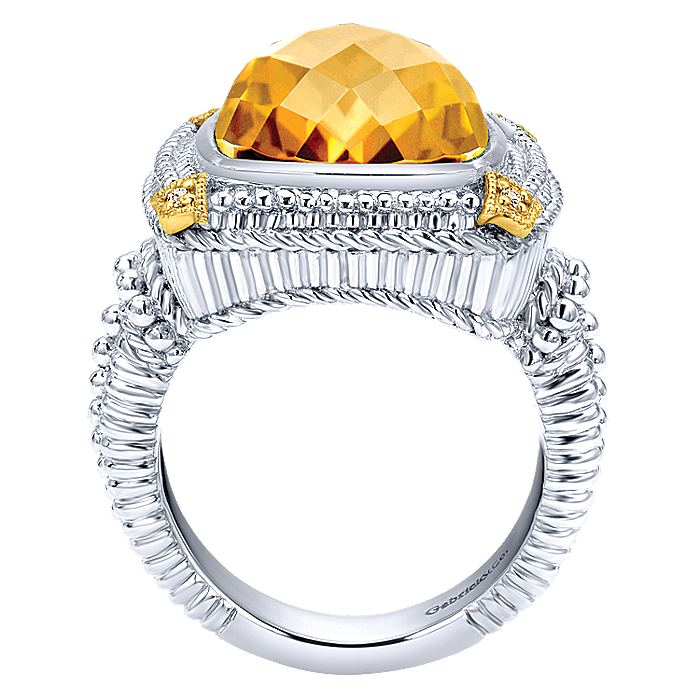 933 Sterling Silver-18K Yellow Gold Cushion Cut Citrine Ring