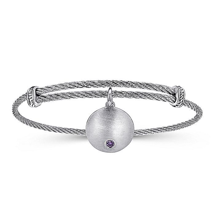 Adjustable Stainless Steel Bangle with Round Sterling Silver Amethyst Stone Disc Charm