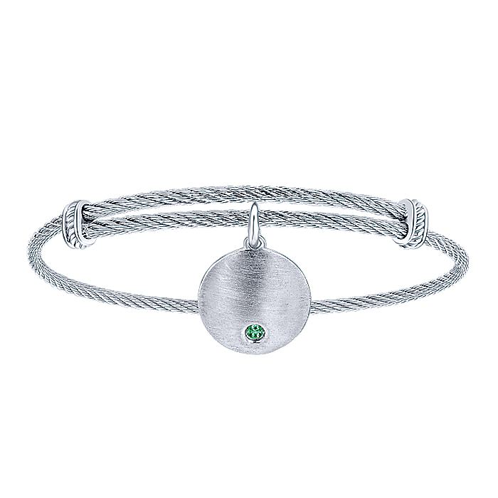 Adjustable Stainless Steel Bangle with Round Sterling Silver Emerald Stone Disc Charm