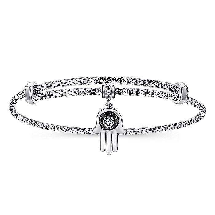 Adjustable Stainless Steel Bangle with Silver Black Spinel and White Sapphire Hamsa Charm