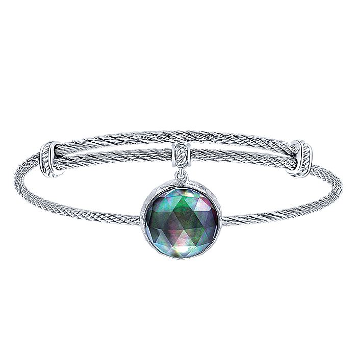 Adjustable Twisted Cable Stainless Steel Bangle with Round Sterling Silver Rock Crystal/Black MOP Pearl Charm