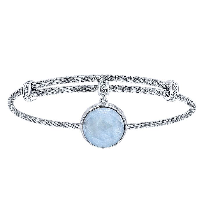 Adjustable Twisted Cable Stainless Steel Bangle with Round Sterling Silver Rock Crystal/Blue Jade Charm