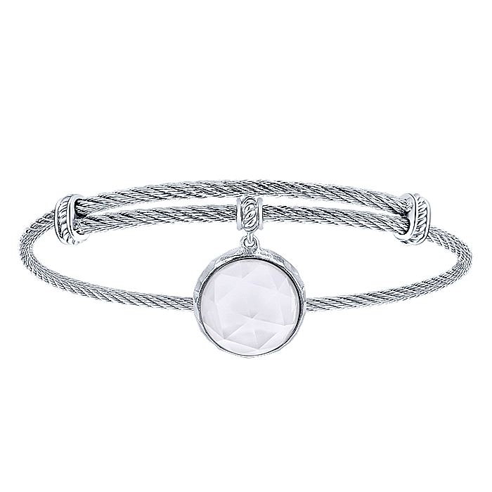 Adjustable Twisted Cable Stainless Steel Bangle with Round Sterling Silver Rock Crystal/MOP Charm