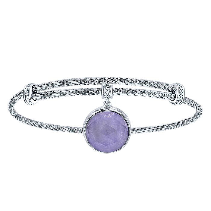 Adjustable Twisted Cable Stainless Steel Bangle with Round Sterling Silver Rock Crystal/Purple Jade Charm