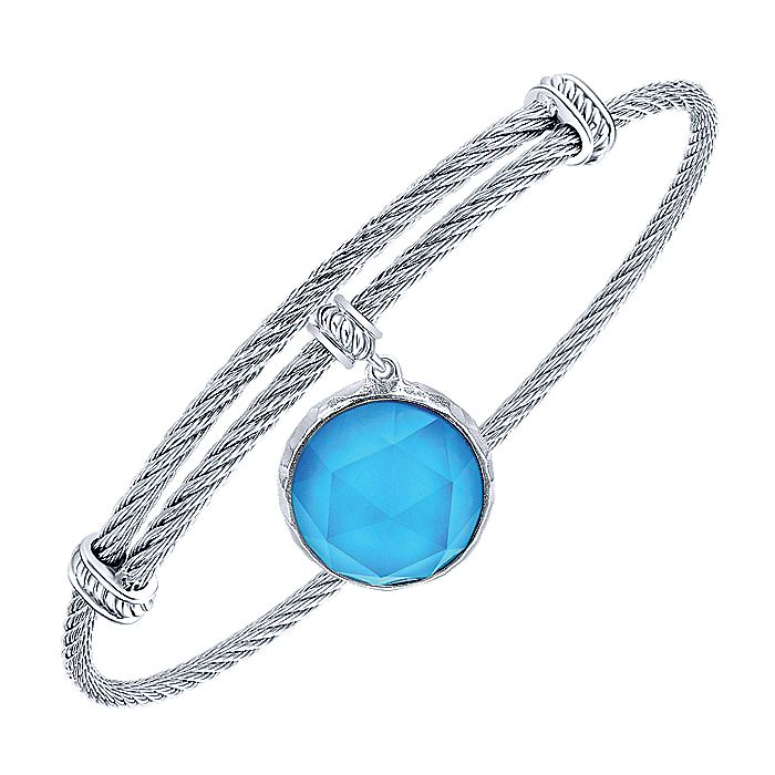 Adjustable Twisted Cable Stainless Steel Bangle with Round Sterling Silver Rock Crystal/Turquoise Charm