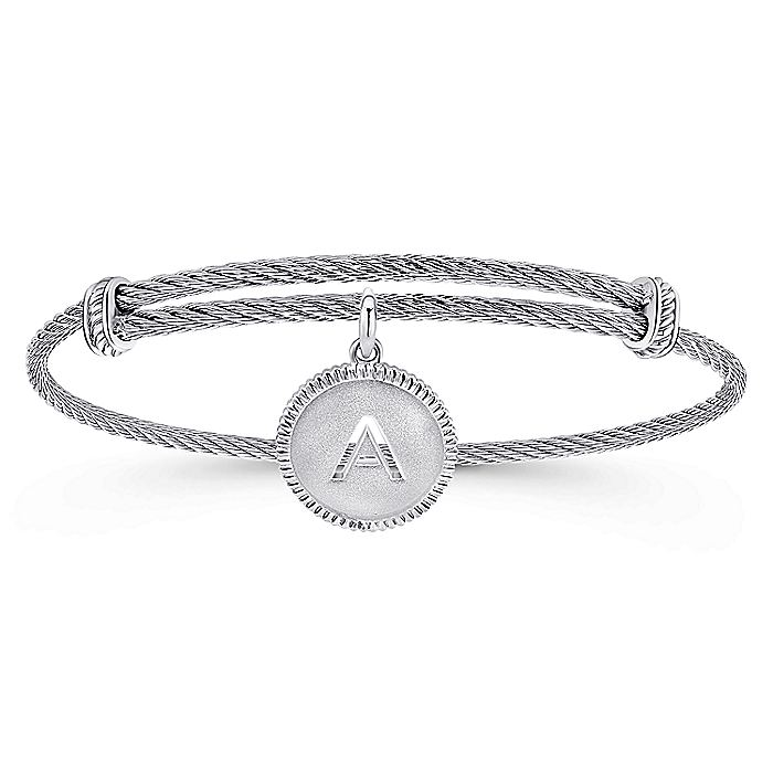 Adjustable Twisted Cable Stainless Steel Bangle with Sterling Silver A Initial Charm