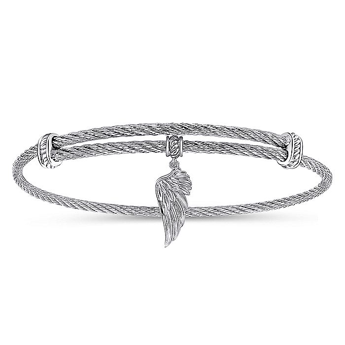 Adjustable Twisted Cable Stainless Steel Bangle with Sterling Silver Angel Wing Charm