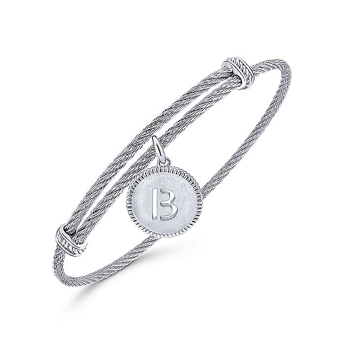 Adjustable Twisted Cable Stainless Steel Bangle with Sterling Silver B Initial Charm
