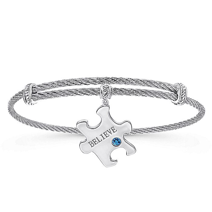 Adjustable Twisted Cable Stainless Steel Bangle with Sterling Silver Blue Topaz Puzzle Piece Charm