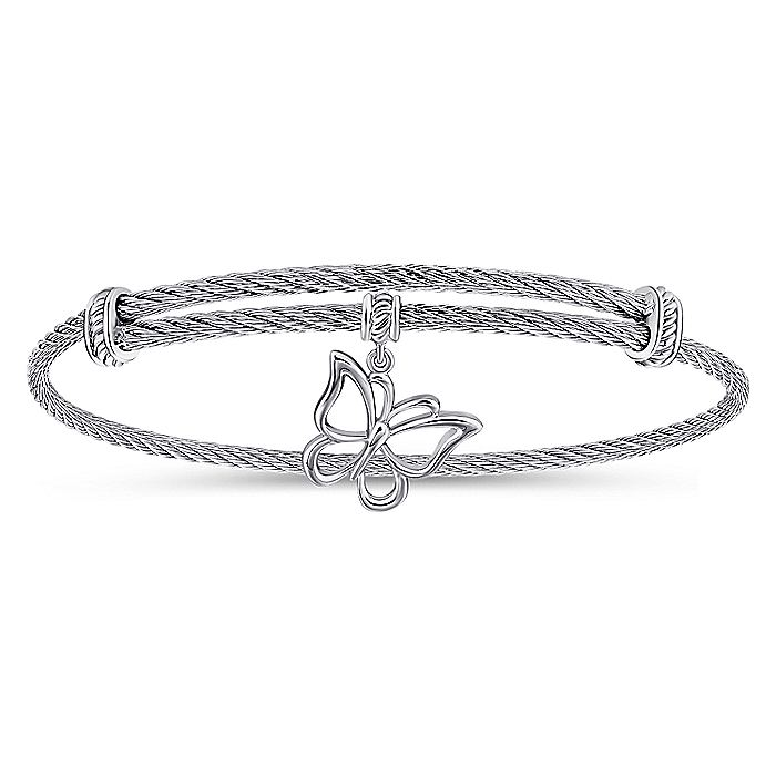 Adjustable Twisted Cable Stainless Steel Bangle with Sterling Silver Butterfly Charm