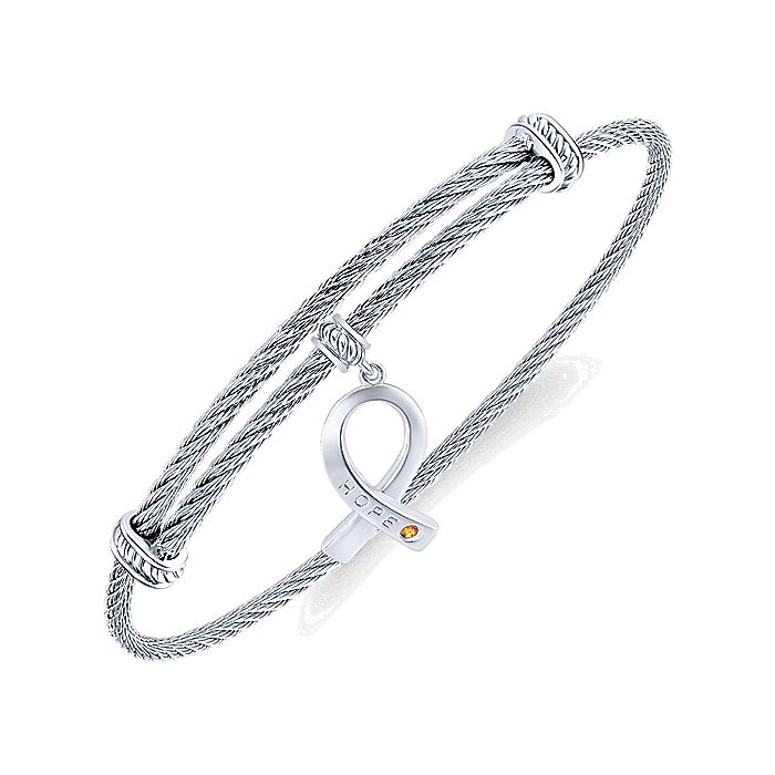 Adjustable Twisted Cable Stainless Steel Bangle with Sterling Silver Citrine Breast Cancer Charm