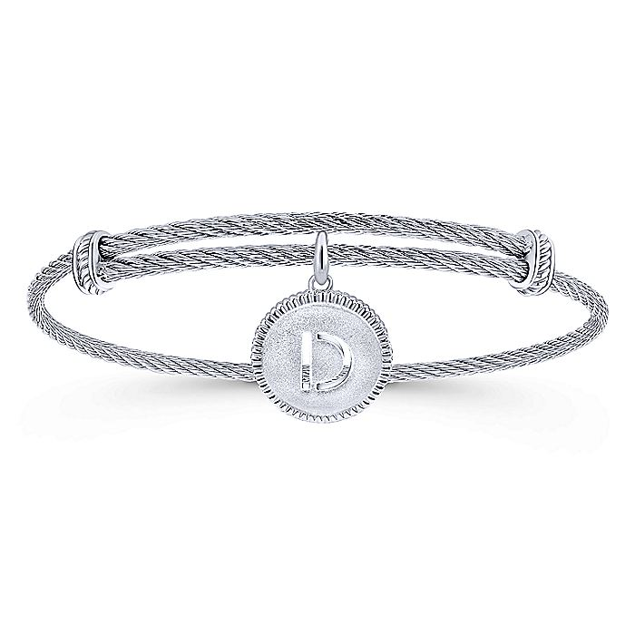Adjustable Twisted Cable Stainless Steel Bangle with Sterling Silver D Initial Charm