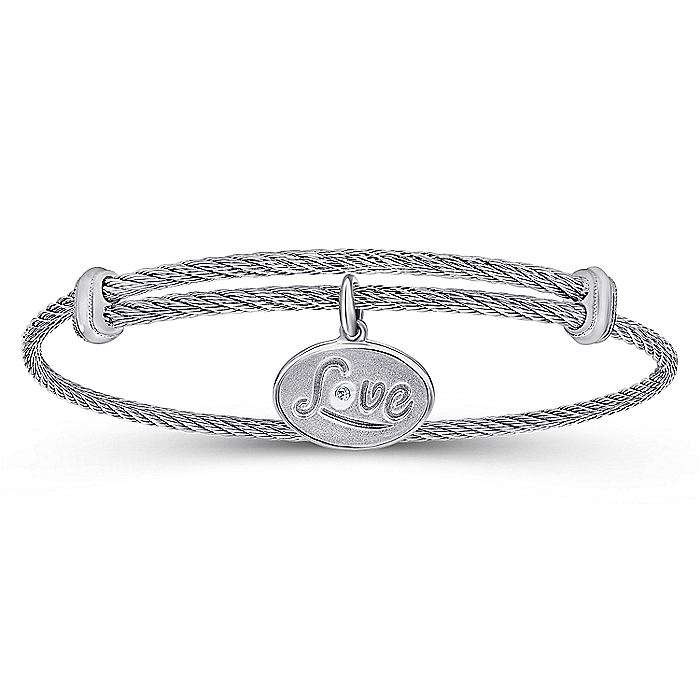 Adjustable Twisted Cable Stainless Steel Bangle with Sterling Silver Diamond Love Charm