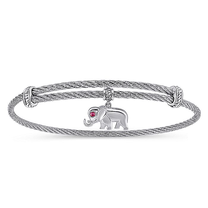 Adjustable Twisted Cable Stainless Steel Bangle with Sterling Silver Elephant Charm