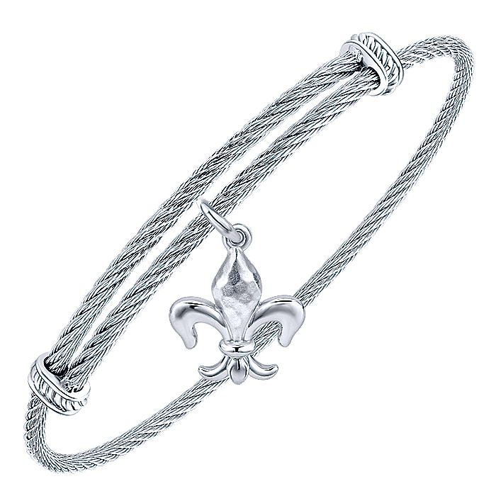 Adjustable Twisted Cable Stainless Steel Bangle with Sterling Silver Fleur de Lis Charm