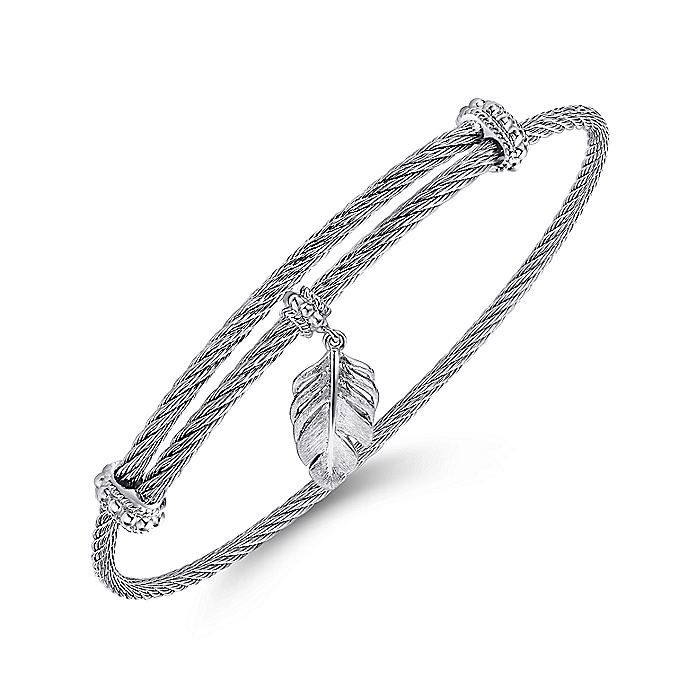 Adjustable Twisted Cable Stainless Steel Bangle with Sterling Silver Leaf Charm