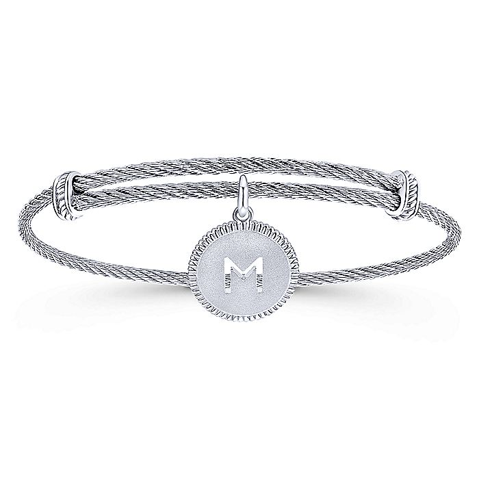 Adjustable Twisted Cable Stainless Steel Bangle with Sterling Silver M Initial Charm