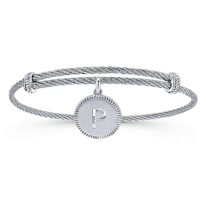 Adjustable Twisted Cable Stainless Steel Bangle with Sterling Silver P Initial Charm