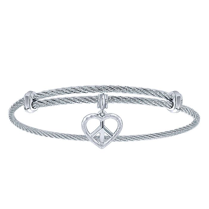 Adjustable Twisted Cable Stainless Steel Bangle with Sterling Silver Peace Heart Charm