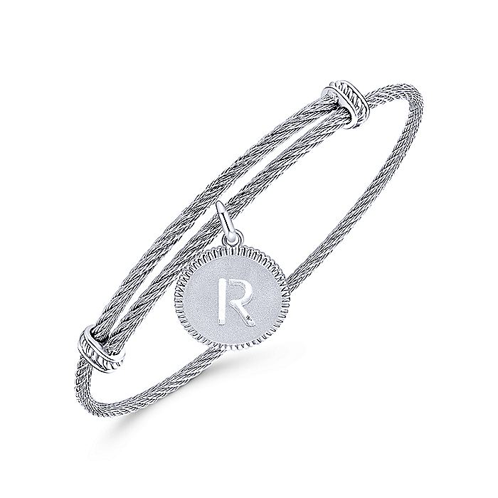 Adjustable Twisted Cable Stainless Steel Bangle with Sterling Silver R Initial Charm