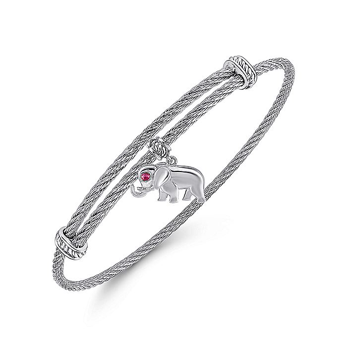 Adjustable Twisted Cable Stainless Steel Bangle with Sterling Silver Ruby Elephant Charm