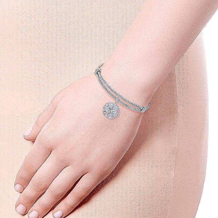Adjustable Twisted Cable Stainless Steel Bangle with Sterling Silver Sand Dollar Charm