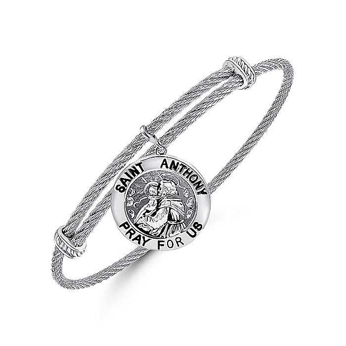 Adjustable Twisted Cable Stainless Steel Bangle with Sterling Silver St. Anthony Charm