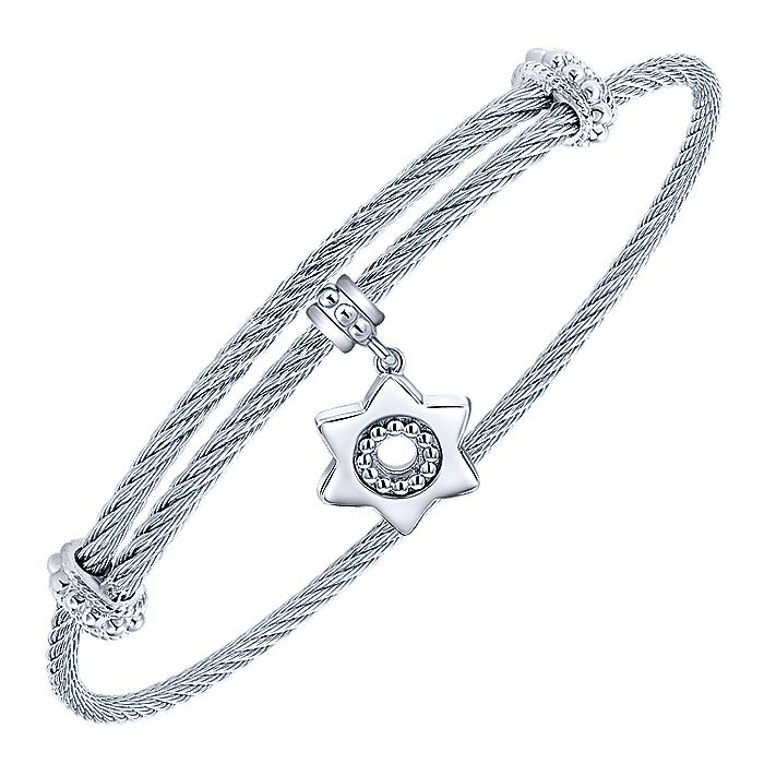 Adjustable Twisted Cable Stainless Steel Bangle with Sterling Silver Star of David Charm