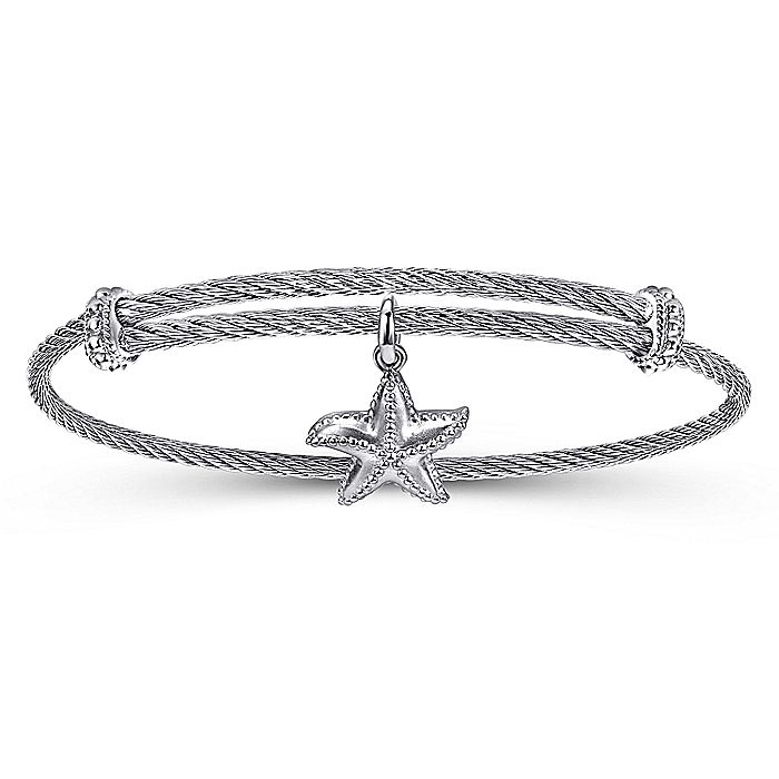 Adjustable Twisted Cable Stainless Steel Bangle with Sterling Silver Starfish Charm