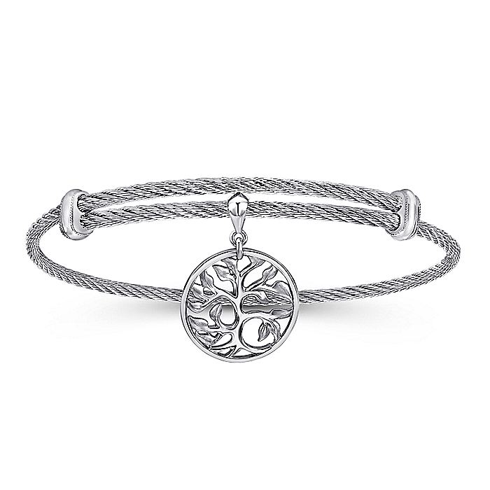 Adjustable Twisted Cable Stainless Steel Bangle with Sterling Silver Tree of Life Charm