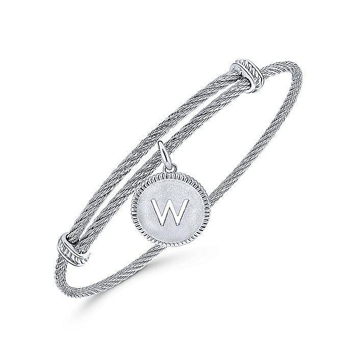 Adjustable Twisted Cable Stainless Steel Bangle with Sterling Silver W Initial Charm