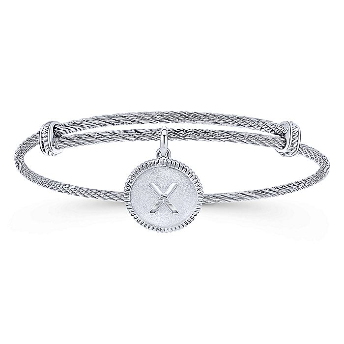 Adjustable Twisted Cable Stainless Steel Bangle with Sterling Silver X Initial Charm