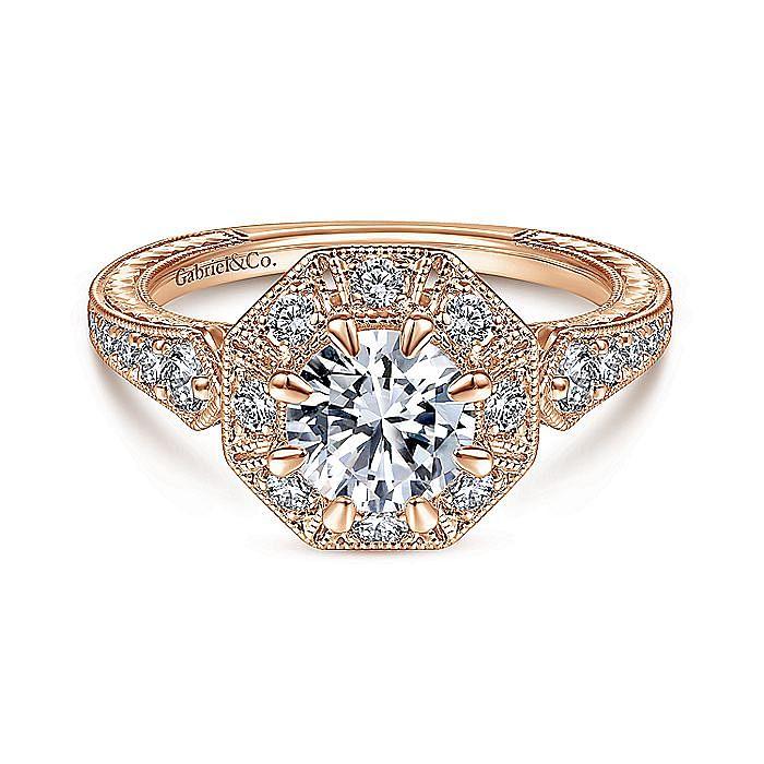 Art Deco 14K Rose Gold Octagonal Halo Engagement Ring