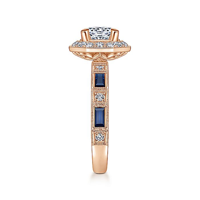 Art Deco 14K Rose Gold Octagonal Halo Round Diamond and Sapphire Engagement Ring