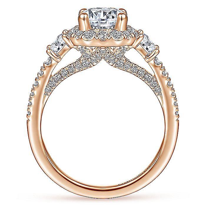 Art Deco 14K Rose Gold Octagonal Three Stone Halo Round Diamond Engagement Ring