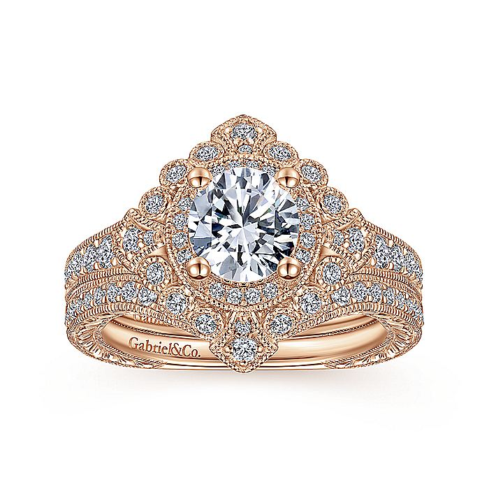 Art Deco 14K Rose Gold Round Double Halo Diamond Engagement Ring