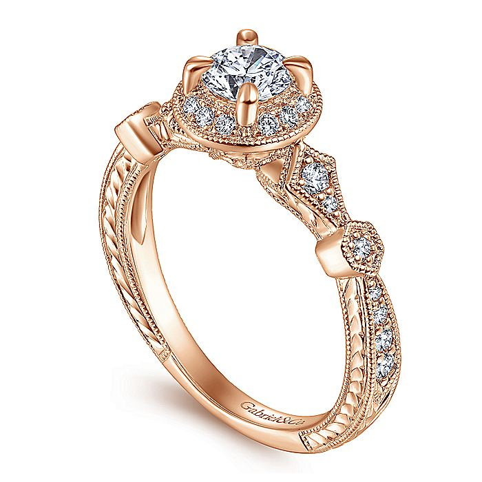 Art Deco 14K Rose Gold Round Halo Diamond Engagement Ring
