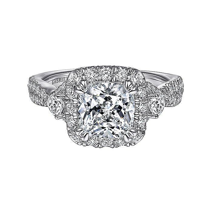 Art Deco 14K White Gold Cushion Three Stone Halo Diamond Engagement Ring