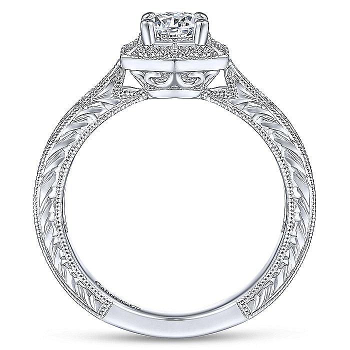Art Deco 14K White Gold Hexagonal Halo Round Diamond Engagement Ring