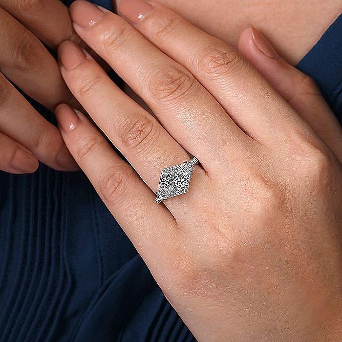 Art Deco 14K White Gold Hexagonal Halo Round Three Stone Diamond Engagement Ring