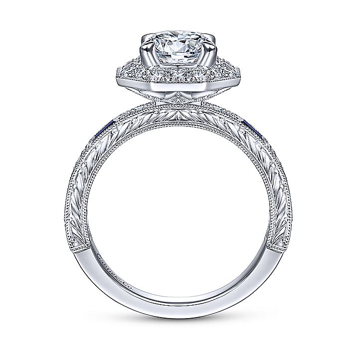 Art Deco 14K White Gold Octagonal Halo Round Sapphire and Diamond Engagement Ring